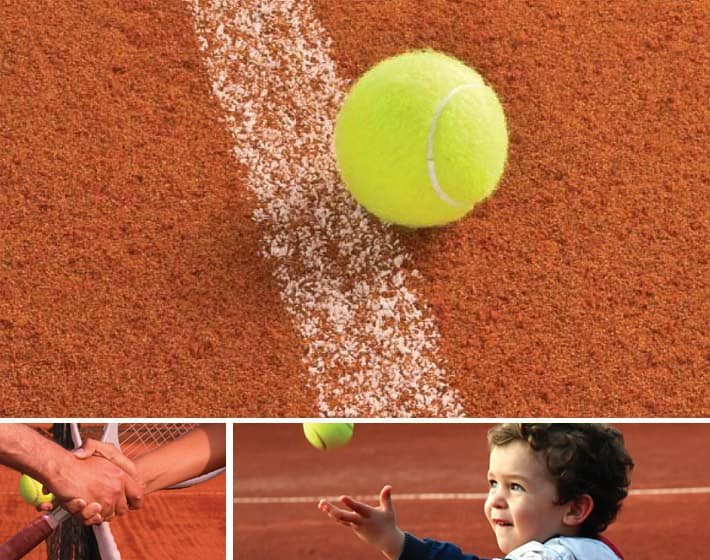 Synthetic clay tennis court built by AMSS