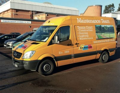 Tennis court maintenance van used by AMSS